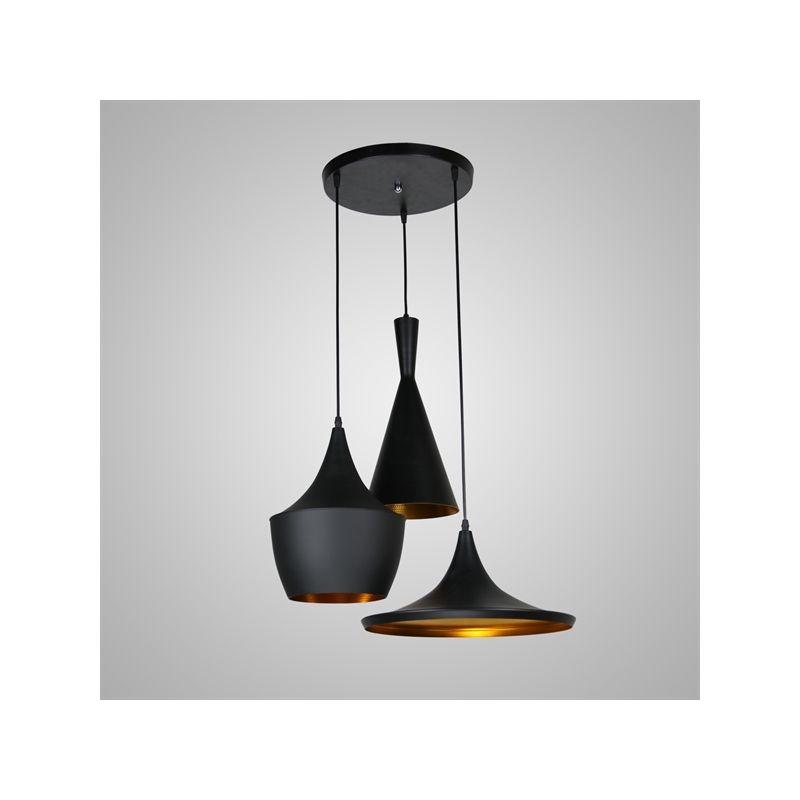 entrepôt ue) plafonnier à 3 lumières style américain noir en