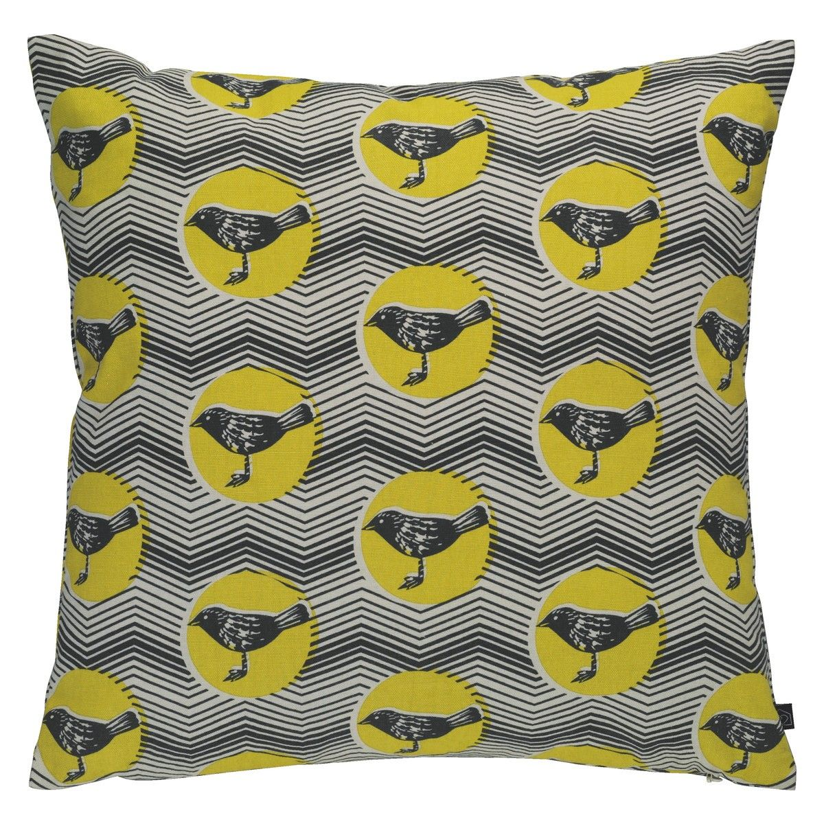 POLKA BIRD Yellow Patterned Cushion 45 X 45cm HABITAT