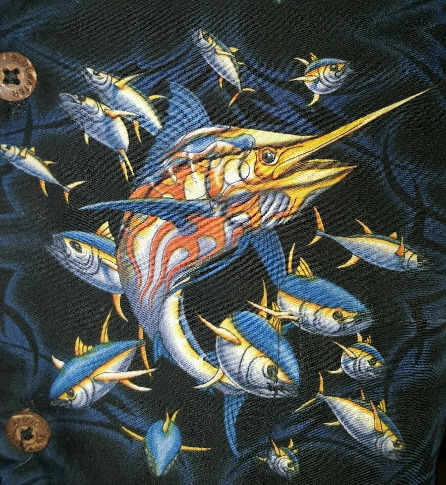 6c410399 AFICO Blue Water #SwordFish Button Up Short Sleeve Mens Hawiian Shirt XL  #MensClothes #HawaiianShirt