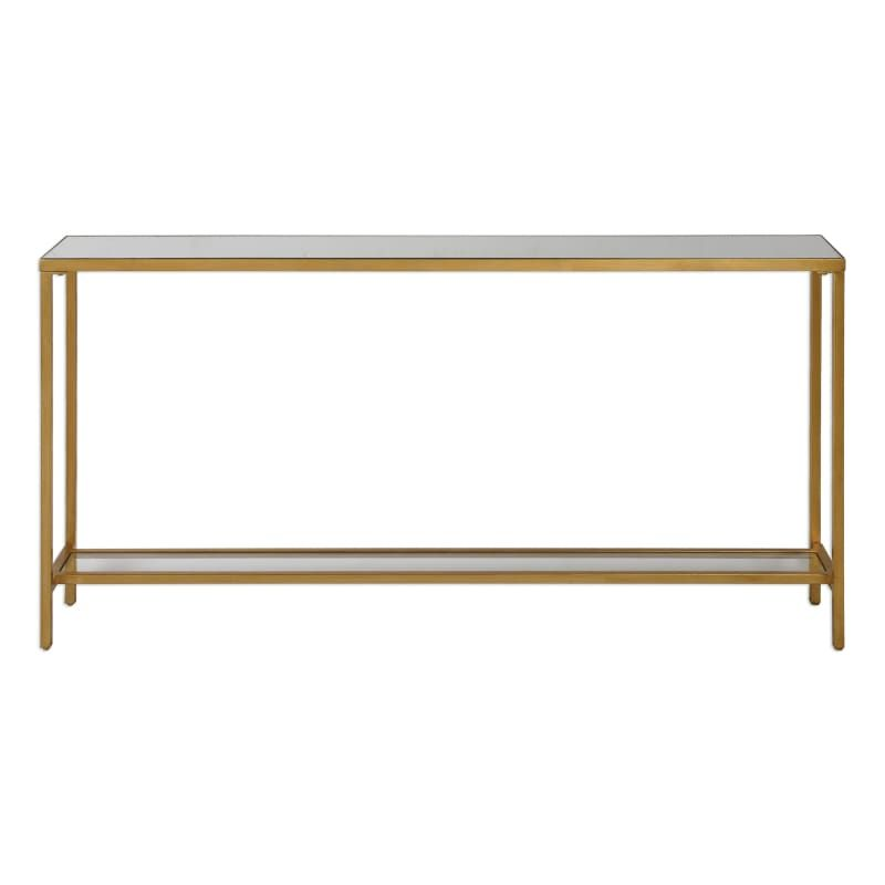 Uttermost 24685 Hayley 60 Inch Wide Metal Console Table With Mirrored Top And Gl Antiqued Gold Leaf Indoor Furniture Tables Sofa