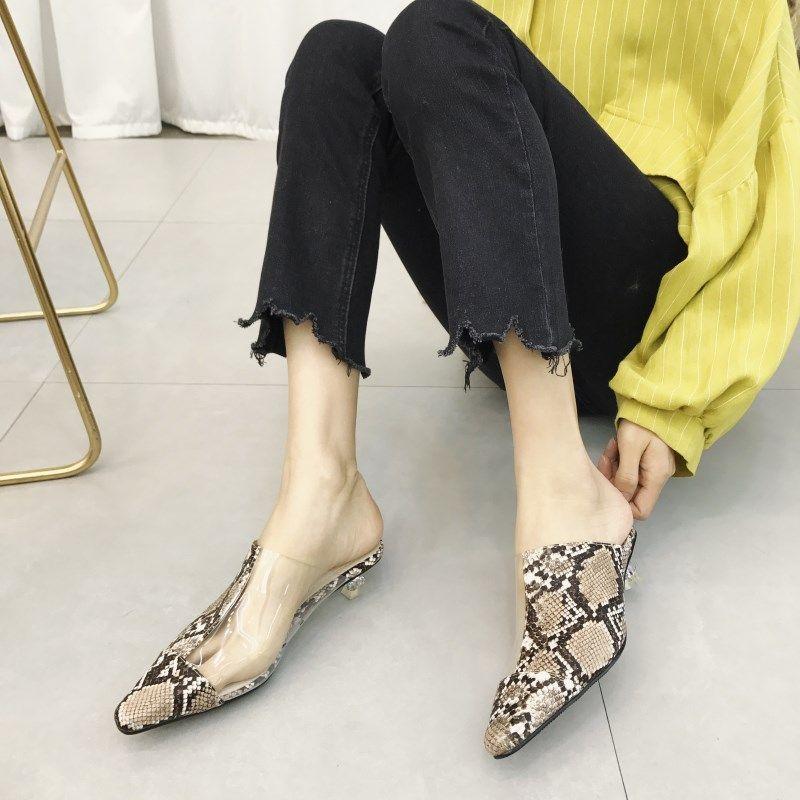 8a0d7136 Zapatillas de mujer de punta de moda transparente tacones bajos serpiente  estampado serpiente mulas zapatos mujeres zapatos Flip Flops Sandalias  cómodas