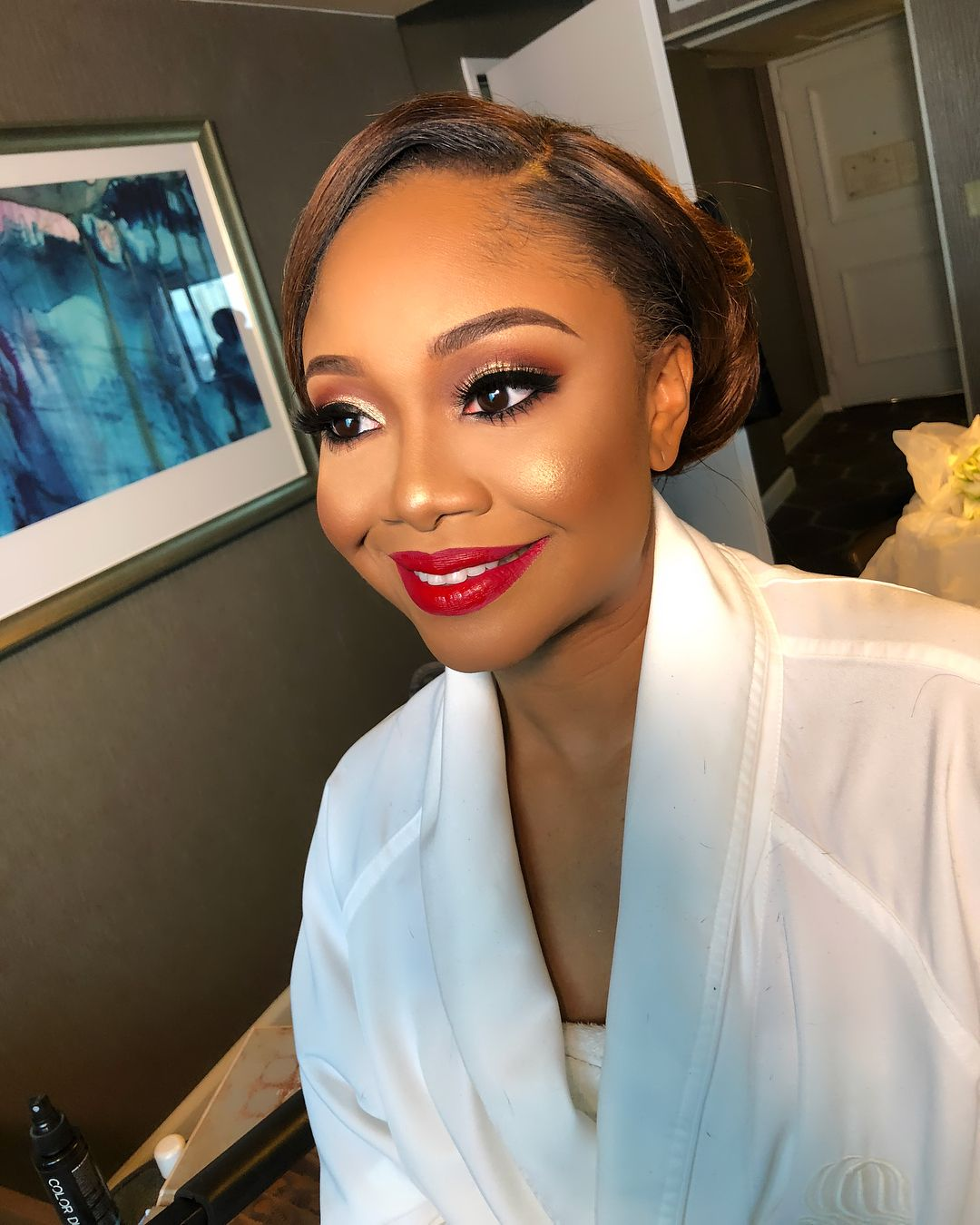 Gold Eyes Red Lip Bridal Makeup On Black Women By Colordujour