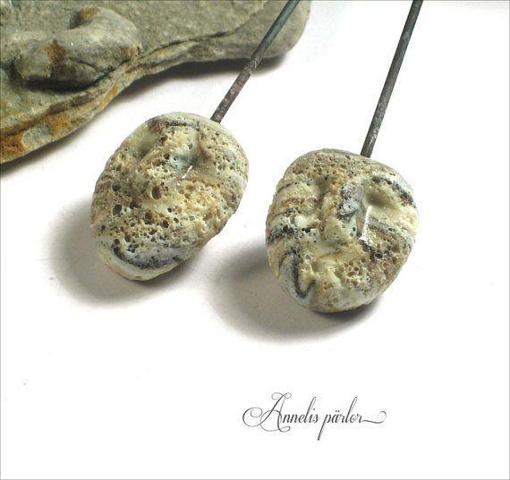 Handmade lampwork glass HEAD pins rustic lampwork by Annelibeads - Annelis pärlor