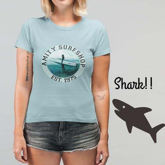 2630c16c Jaws T Shirt Amity Surfshop Surfboard T Shirt Jaws Shirt Funny Jaws Shark  Unisex Shirt Shark Shirt Movie Jaws Movie #SurfboardTShirt #JawsMovieTShirt  ...