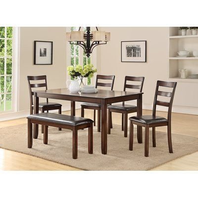 Millwood Pines Stahr Rubberwood 6 Piece Solid Wood Dining Set