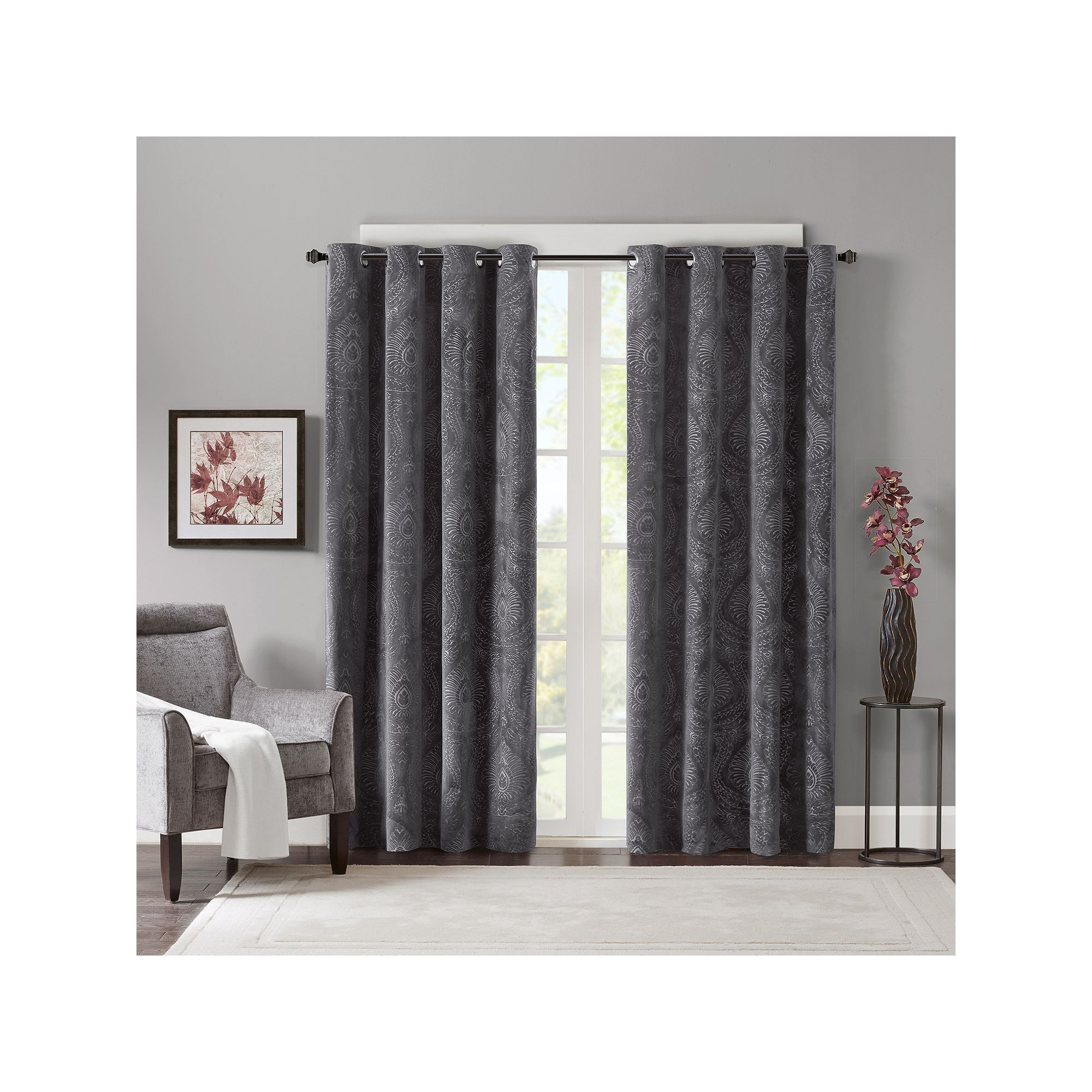 Red Velvet Window Curtains - Madison park cecil velvet window curtain set dark red
