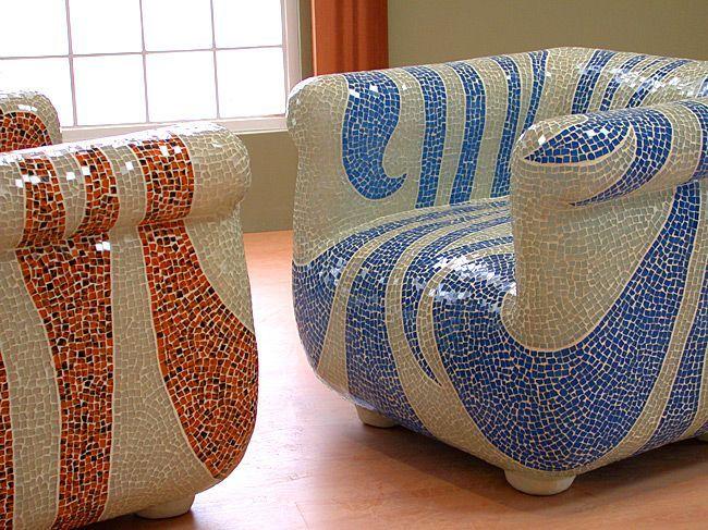 Mosaic chairs (from the Dunes) gelukkig eens een keer niet al te schreeuwerige kleuren bij elkaar.
