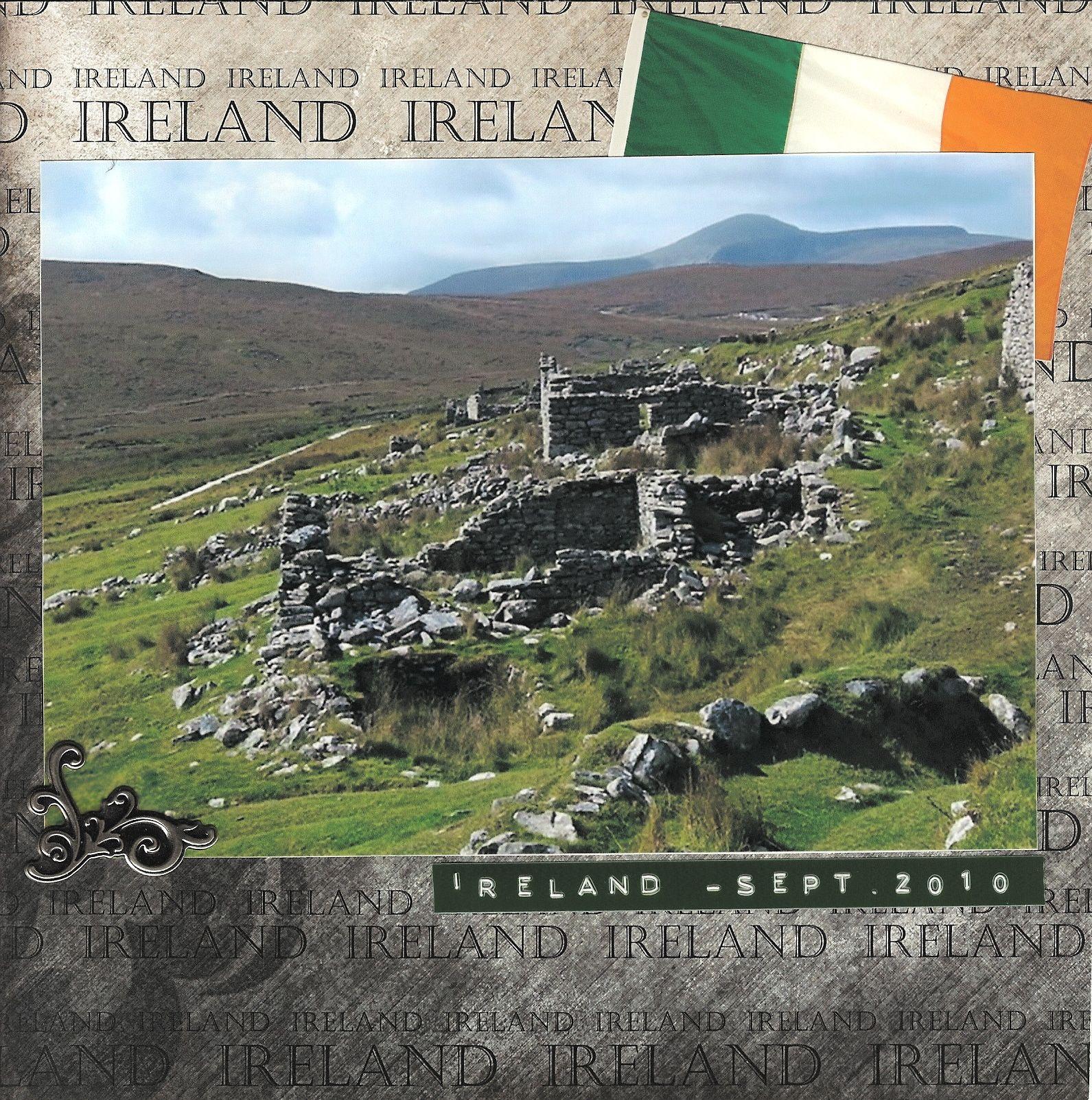 How to scrapbook 8x8 layouts - 8x8 Scrapbook Layout Ireland Album Page 1