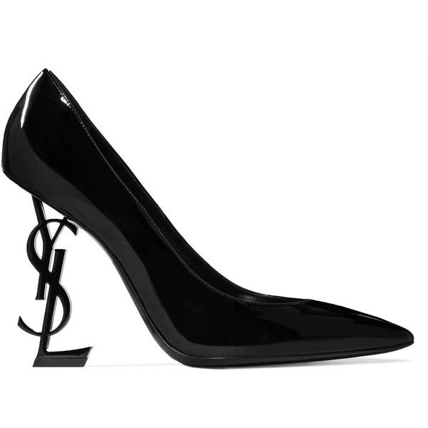 Saint Laurent Opyum patent-leather pumps (7.970 NOK) ❤ liked on Polyvore featuring shoes, pumps, high heel pumps, black slip-on shoes, black shoes, black pointy toe pumps and black high heel pumps