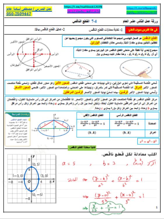 حل درس القطع الناقص الصف الثاني عشر عام مادة الرياضيات المتكاملة In 2021 Ale