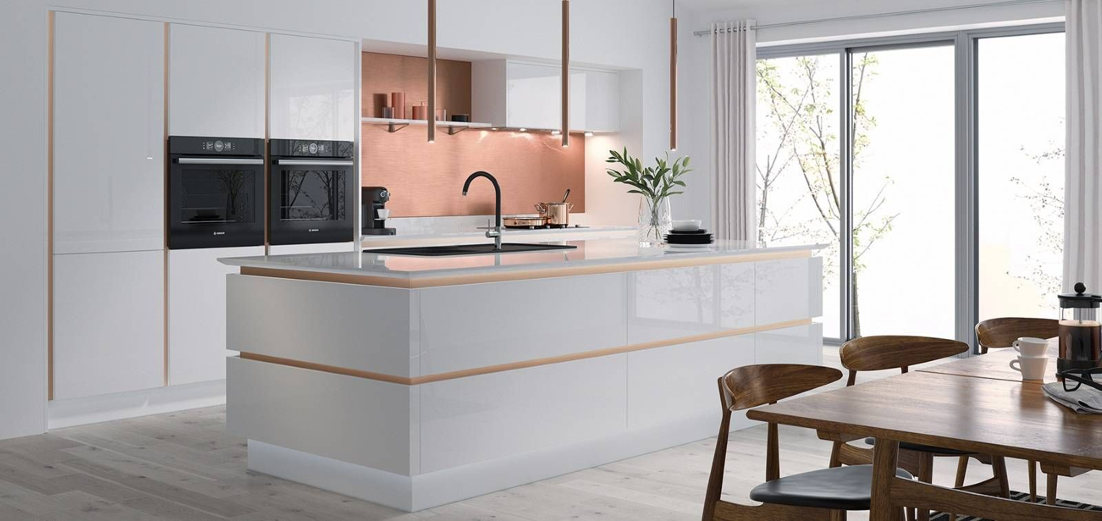 Best Milano Ultra Bianco Gloss Copper Modern Kitchen Wren 400 x 300