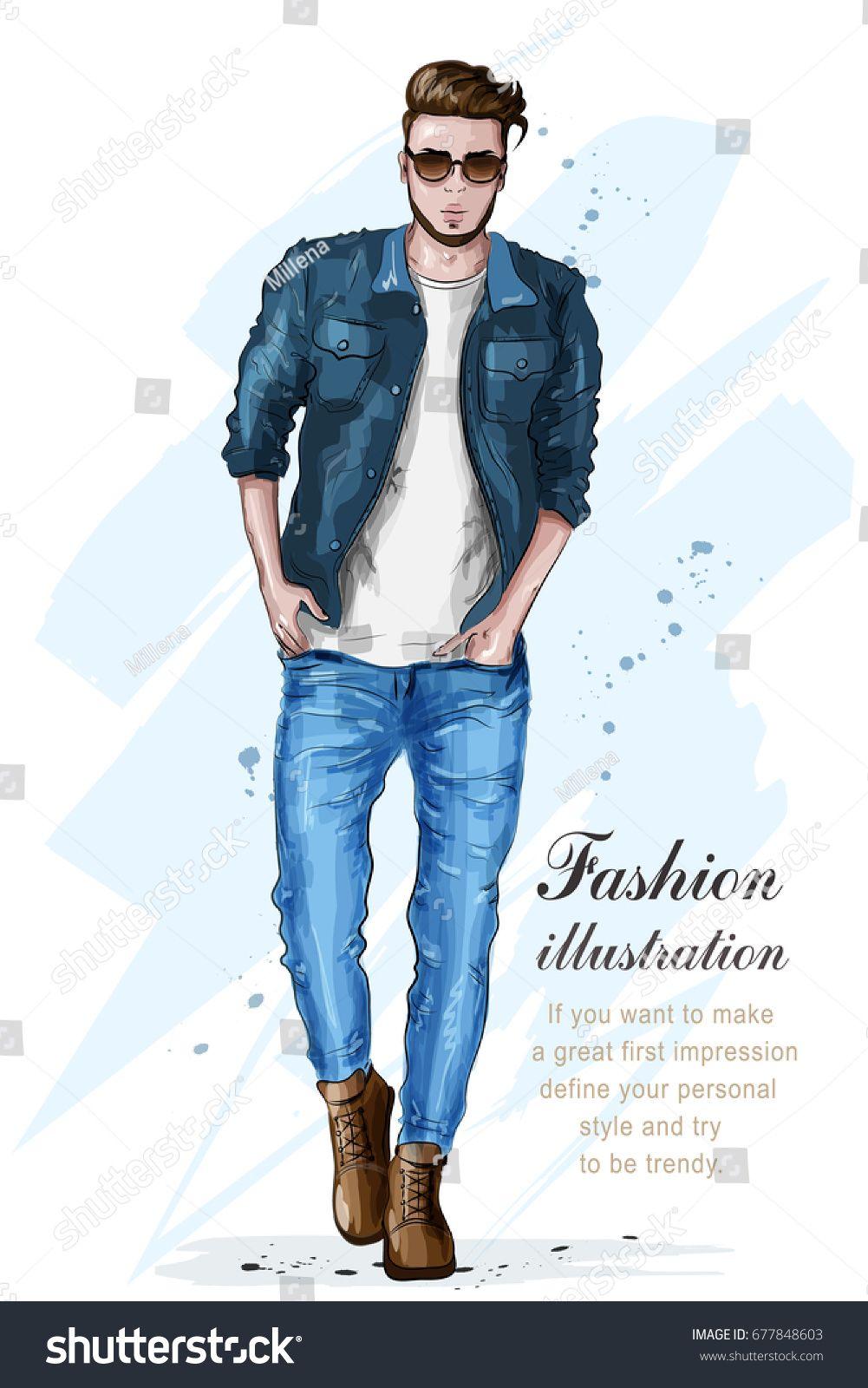 0e5e2aa7 Stylish handsome man in fashion clothes. Fashion man. Hand drawn male  model. Sketch. Vector illustration.