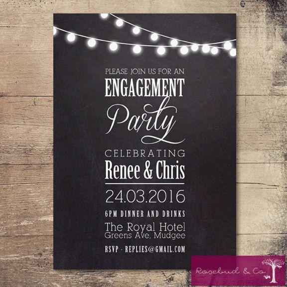 Printable Fairy Light Chalkboard Engagement by RosebudandCo - invitation wording ideas for dinner party