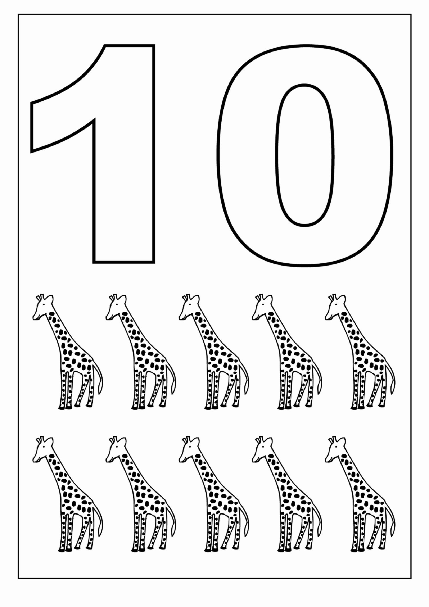 Number 1 10 Coloring Pages In