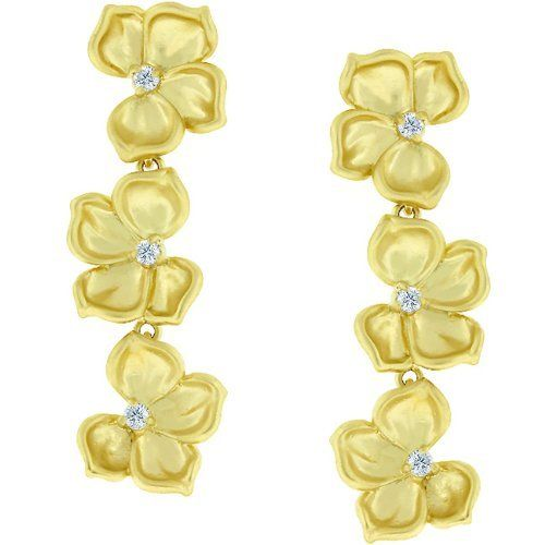 14k Matte Gold Plate Floral Elegance Cubic Zirconia CZ Dangle Earrings Her Choice Jewelry. $23.40. Save 57%!