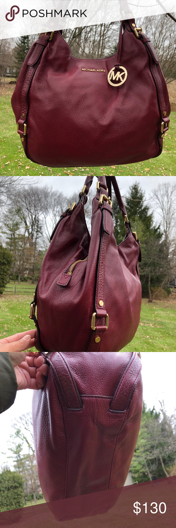 "🔥SALE 🔥MICHAEL KORS BURGUNDY SHOULDER BAG In good condition  Minor peeling and ink mark L 11.5"" W 14.5"" Color: Burgundy 🔥Price is firm 🔥 Michael Kors Bags Shoulder Bags"