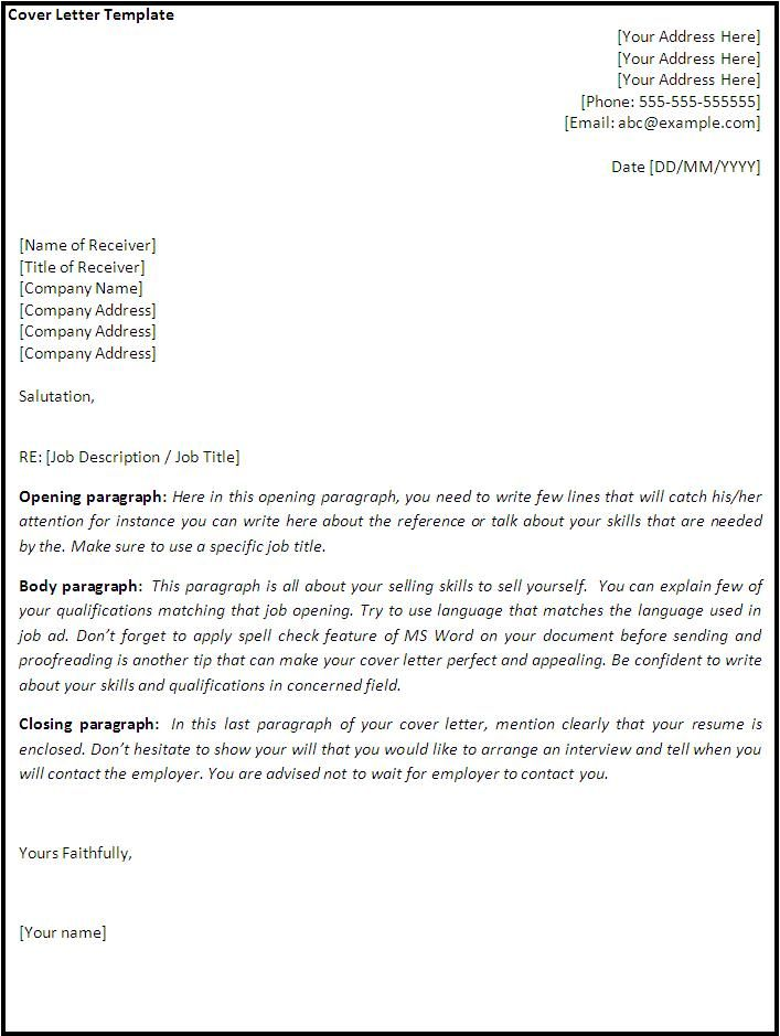cover letter template best word templates sample information - download cover letter template
