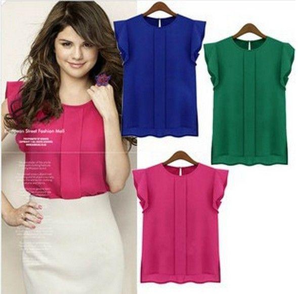Tamanho solta camiseta manga borboleta S- XL chiffon mulheres superiores nova moda mais camisa da cor de doces sólida top de manga curta US $3.68 - 4.30