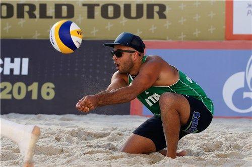 Italy S Adrian Ignacio Carambula Raurich Receives A Ball Men Beach Adrian Volley