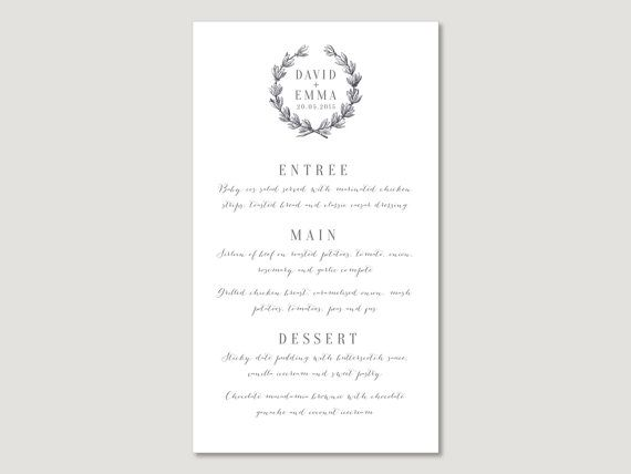 Printable Wedding Menu Card Wreath Seasonal Winter Vintage - wedding menu