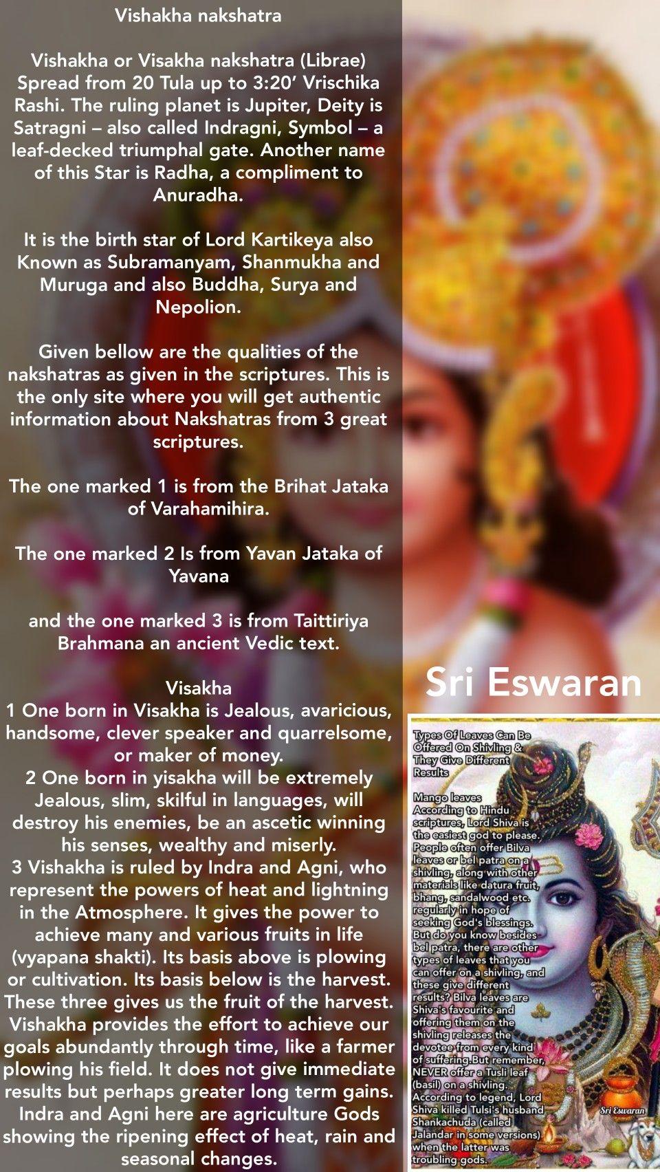 Vishakha nakshatra Vishakha or Visakha nakshatra (Librae) Spread
