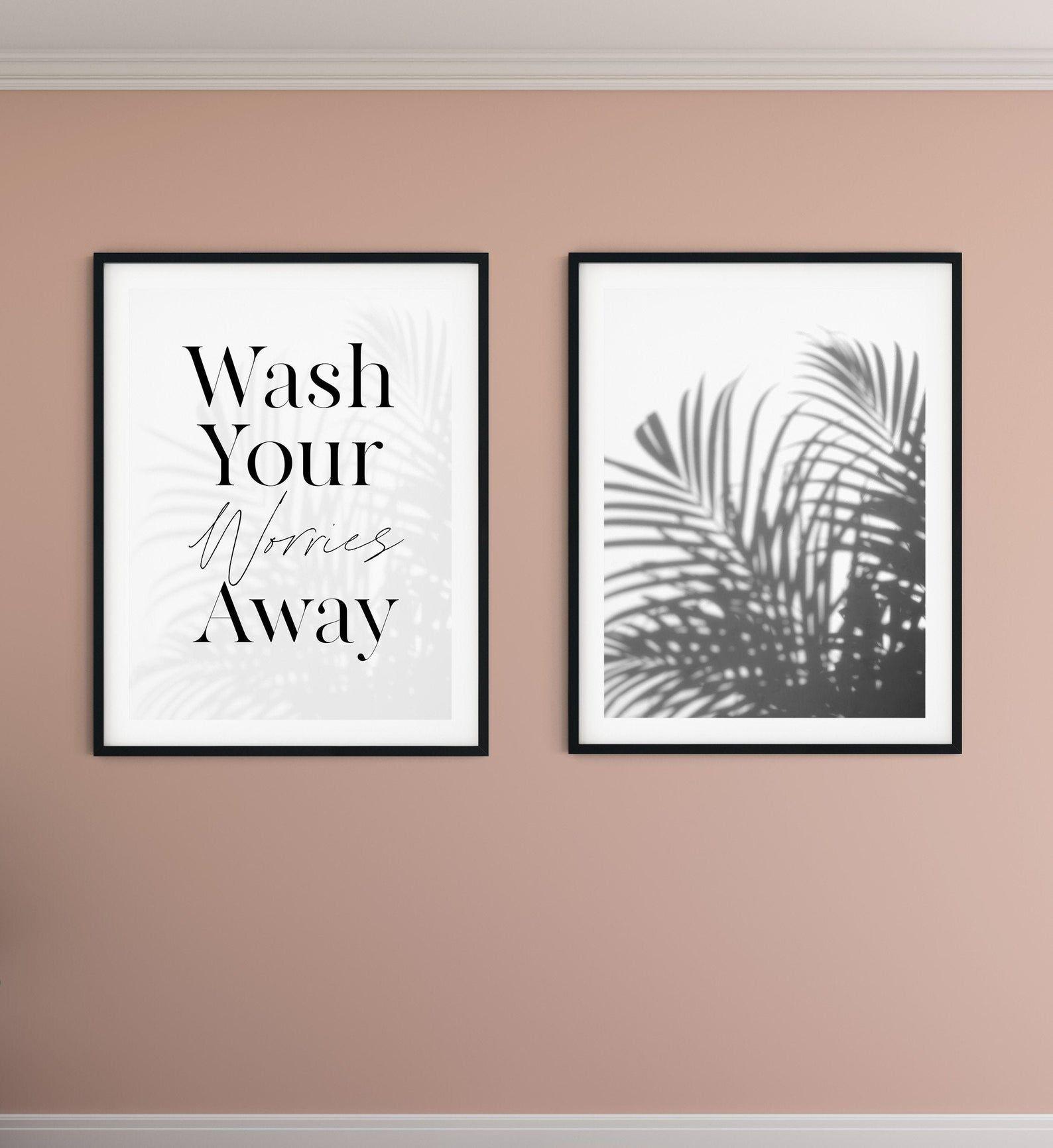 Wash Your Worries Away Palm Tree Print Set Of 2 Bathroom Wall Etsy Palm Tree Bathroom Decor Powder Room Decor Bathroom Wall Decor