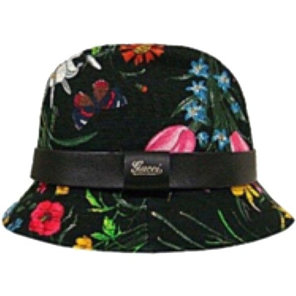 58252c6fe78 Pre-owned Gucci Floral Bucket Hat ( 173) ❤ liked on Polyvore featuring  accessories