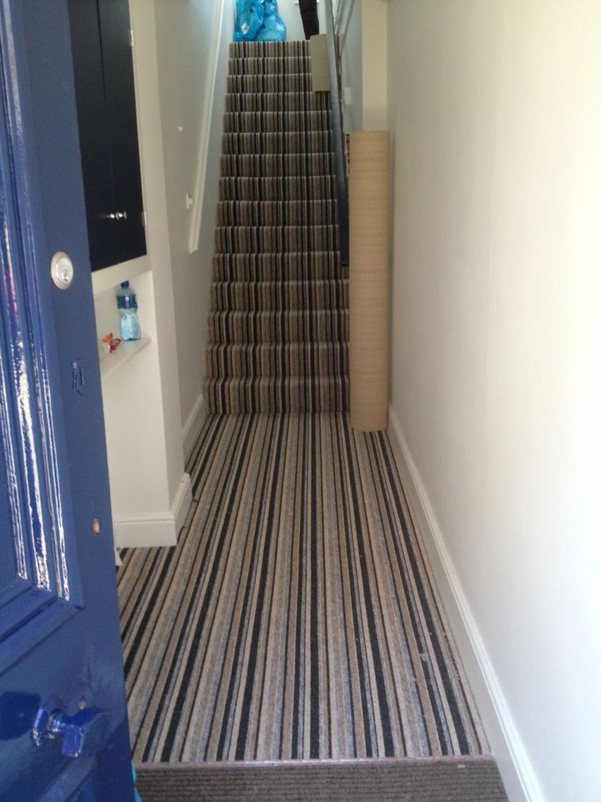 Best Striped Stripy Carpet Stairs Hallway Landing Navy Blue 400 x 300