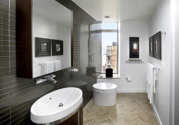 Hochglanz braune Fliesen Parkett Bodenbelag Badezimmer Ideen