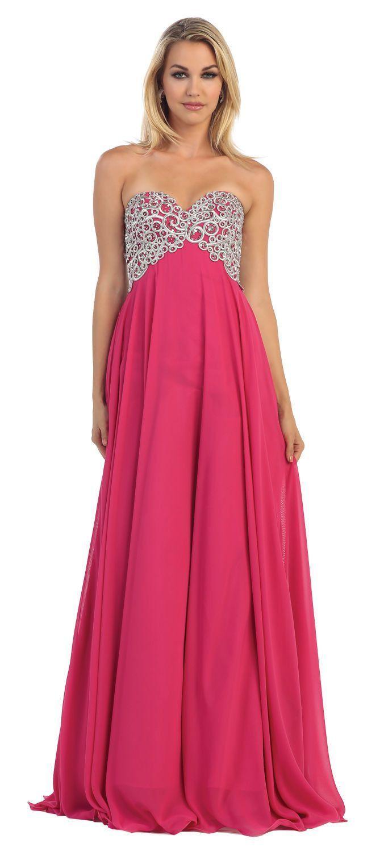 Long Strapless Prom Dress Empire Waist Plus Sizes Formal ...