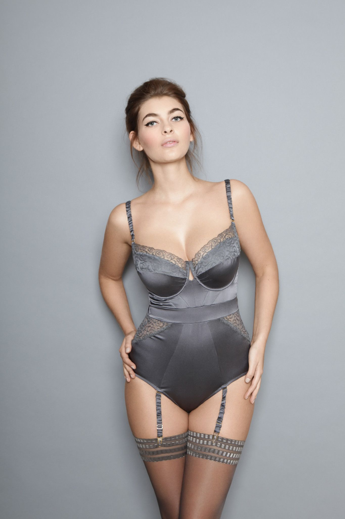 0e494e7f5e000 Boudoir Lingerie: I am loving this beautiful gray sating color. The design  of the piece is perfect because it's slimming in all the correct places.