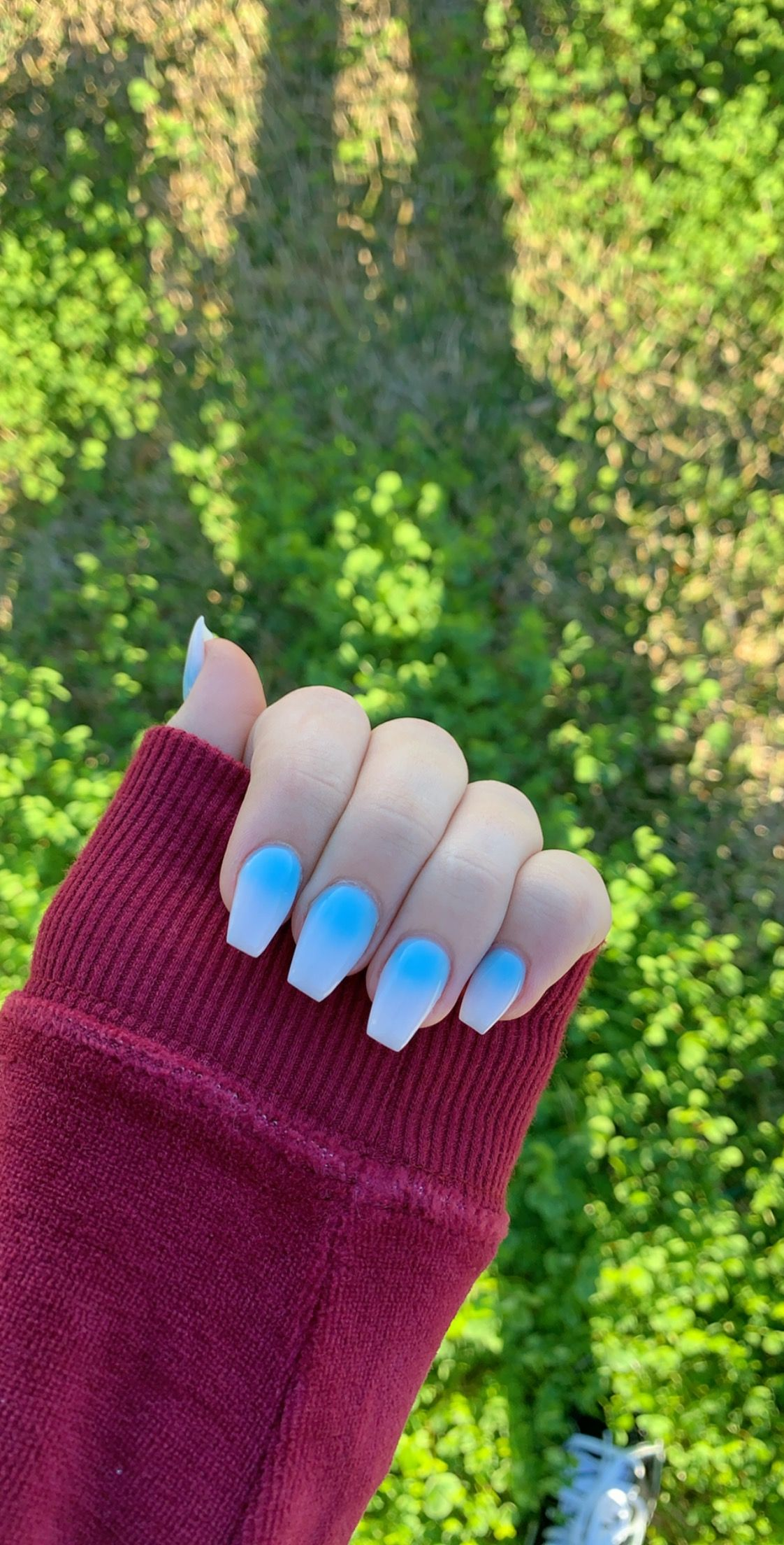 Blue to white fade, acrylic nails, coffin shape, fade nails