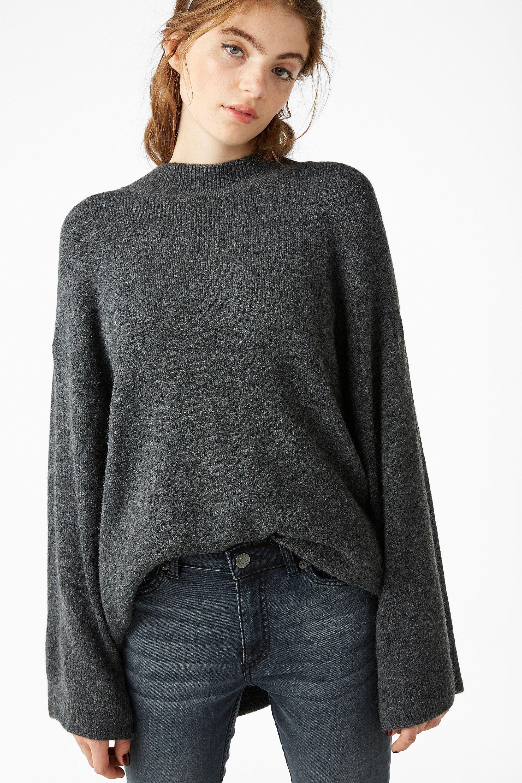 57697edcf9b Long knit sweater - speckled seagull melange - Knitwear - Monki FR ...