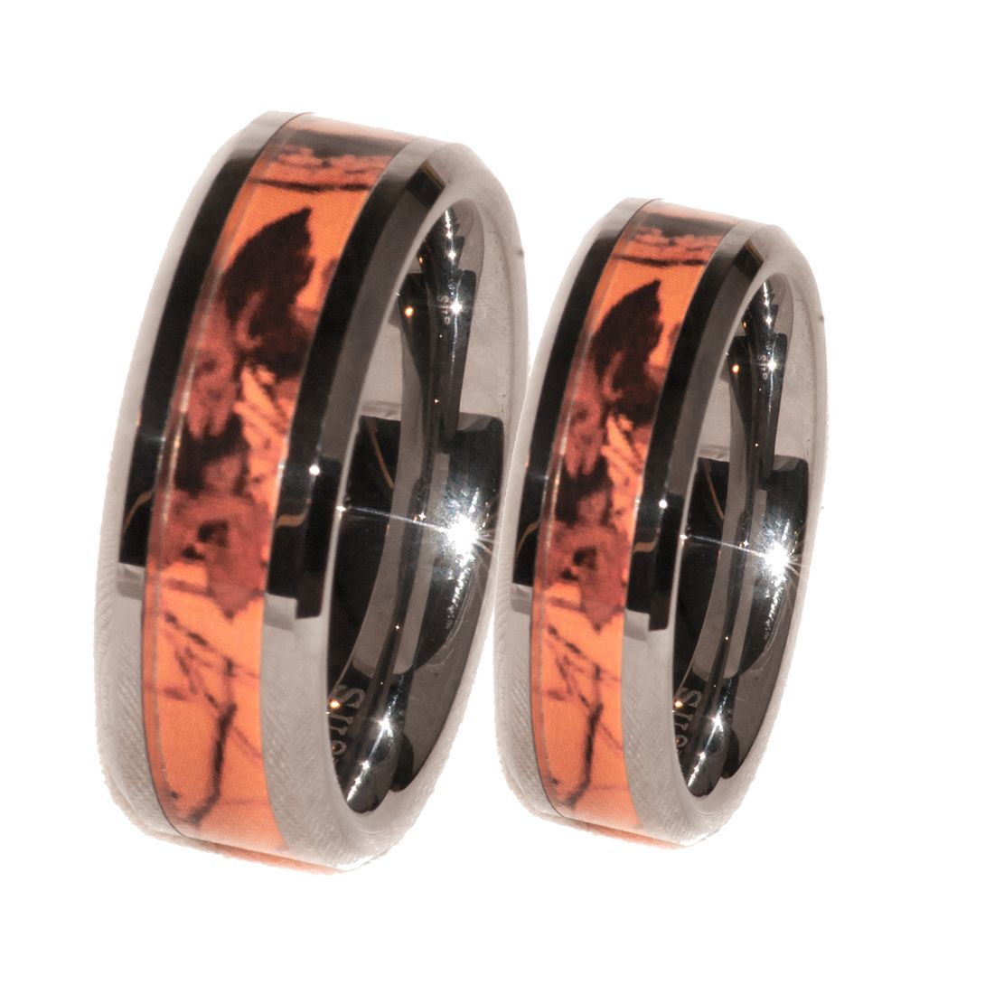 Orange Camo Band Couples Ring Set Anniversaries Couples and Ring