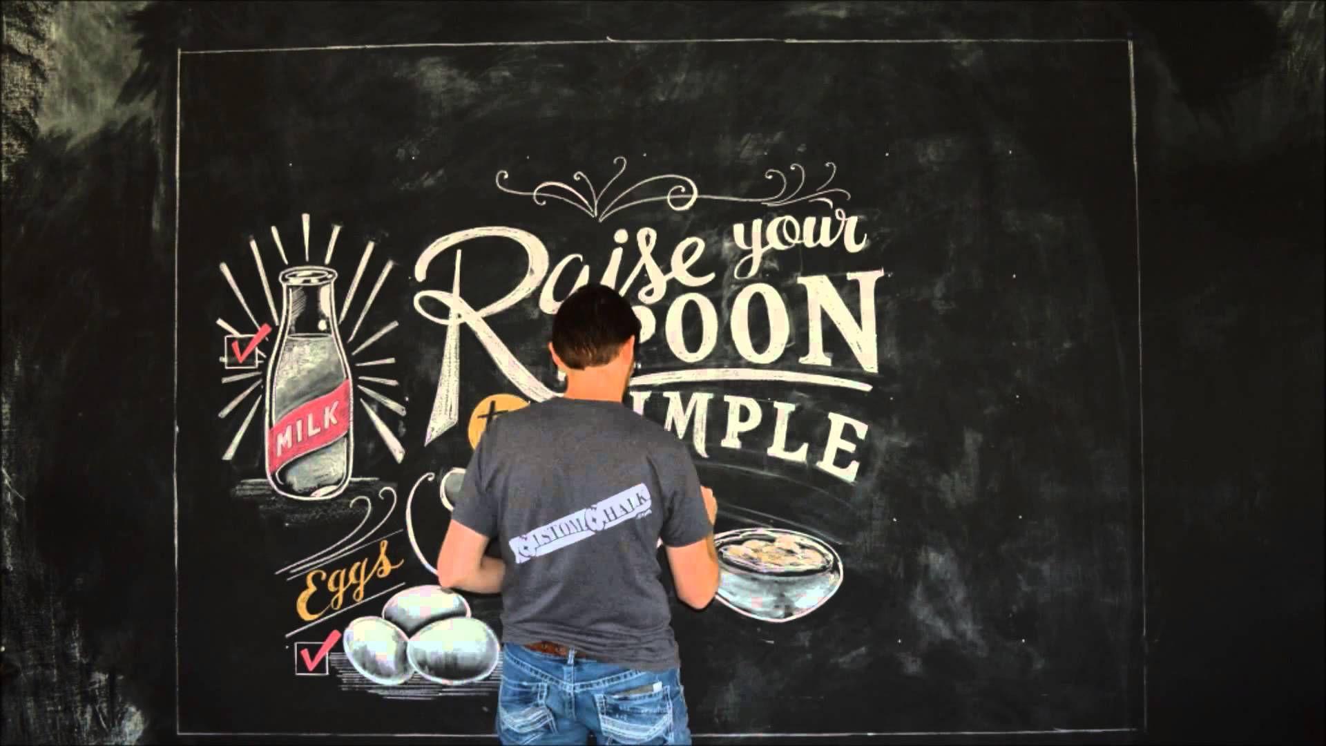 Chalk art lettering mural - time lapse - for Kozy Shack / Land O' Lakes