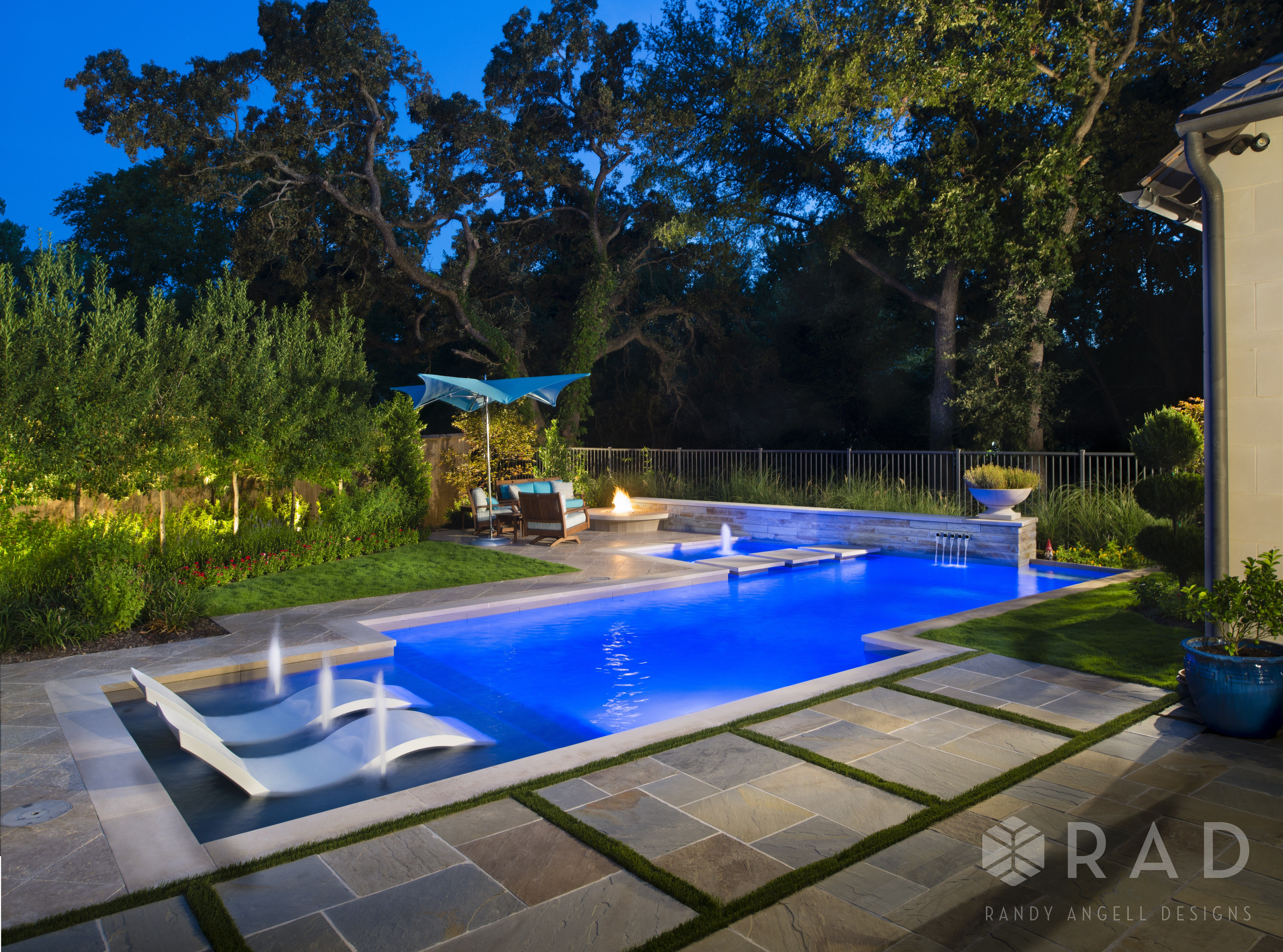 Transitional Modern Design By Randy Angell Designs Linear Swimming Pool