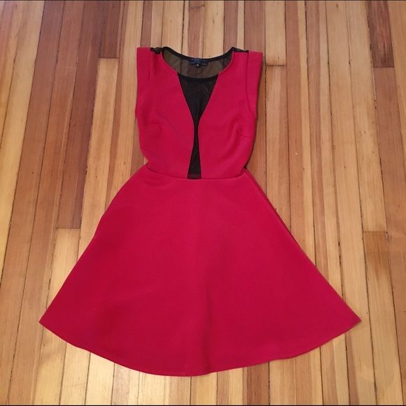 Guess Red Dress With See Through Black Panel My Posh Picks