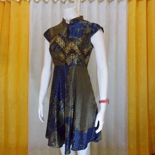 BATIK DRESS PESTA WANITA DBE10  Model dress batik modern terbaru