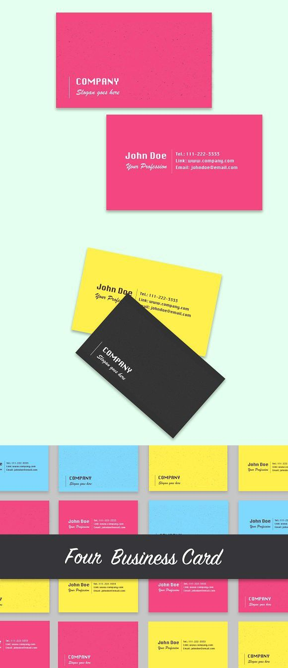 4 Colored Business Cards | Business cards, Business and Card templates
