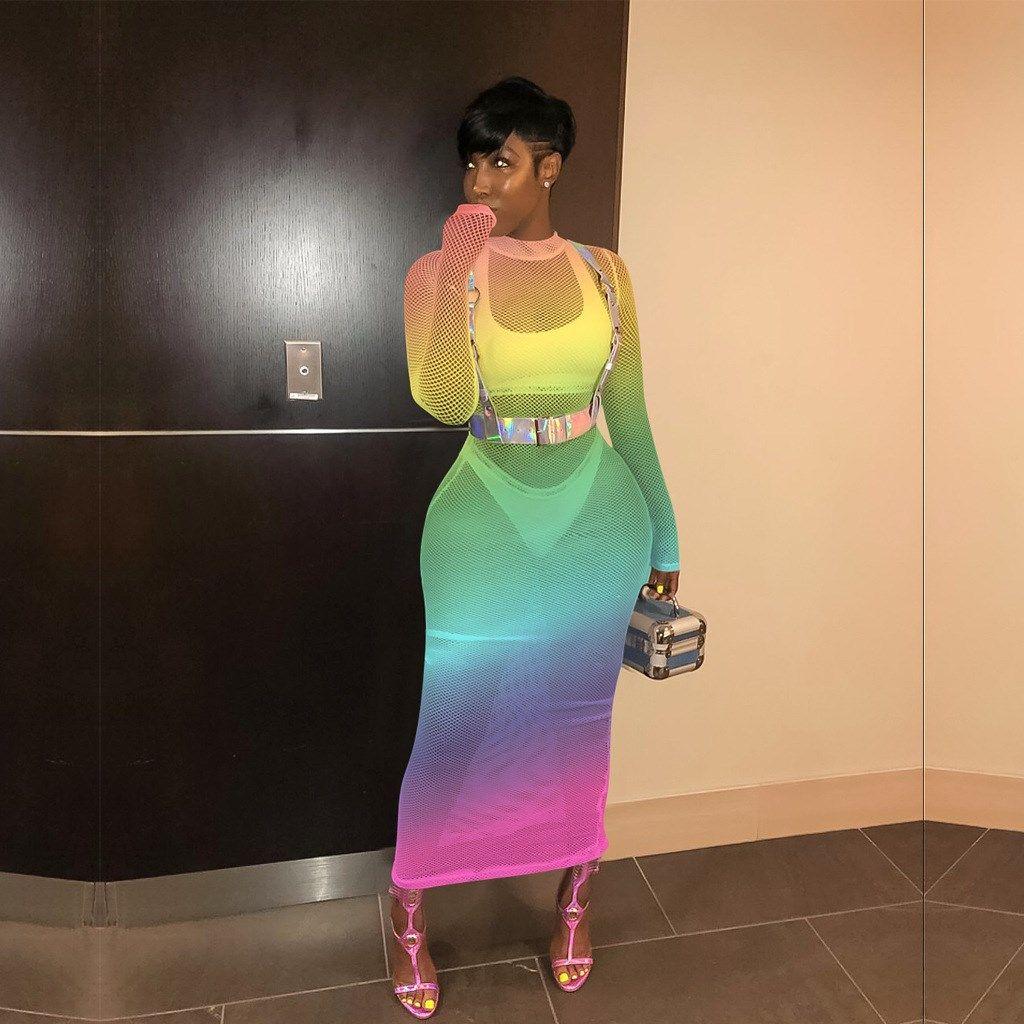 Rainbow Gradient Mesh Plus Size Dress Casual Women Bodycon Hollow Party Dress Summer Long Sleeve Spliced Perspective Dre Long Summer Dresses Dresses Mesh Dress [ 1024 x 1024 Pixel ]