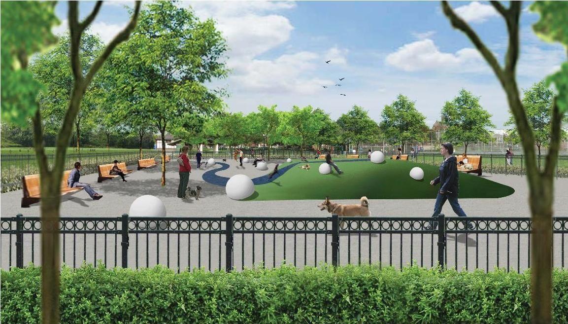 Dog park design this design was created by thomas for Park landscape design