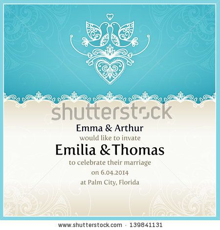 Blue wedding invitation design template with doves hearts flowers blue wedding invitation design template with doves hearts flowers and geometrical lace ornament vector wedding card with text area stopboris Image collections