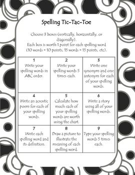 Spelling choice board spelling tic tac toe board choice boards looking for a fun way to get your students working with their spelling words this board allows for student choice as well as creativity pronofoot35fo Choice Image