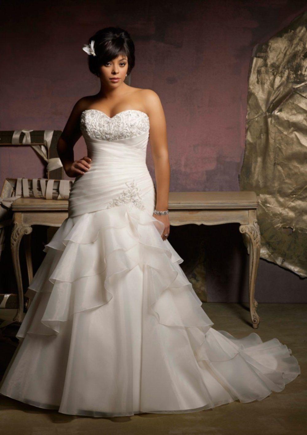 Strapless bra for wedding dress plus size  Ruffled Tiered organza plus size wedding dress at Bling Brides