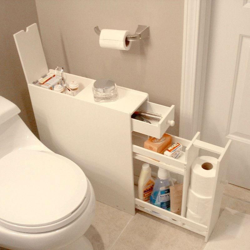 Space Saving Bathroom Floor Cabinet in White Wood Finish | Space ...