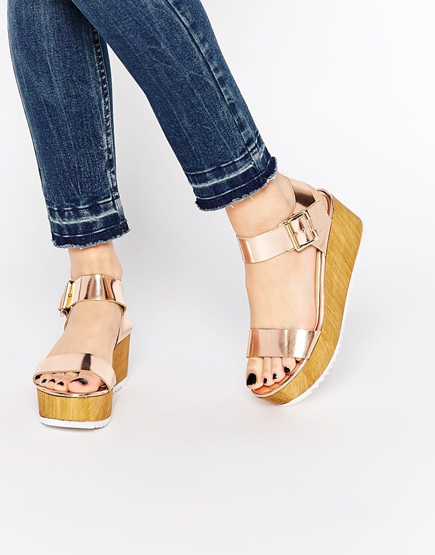 Image 1 of Steve Madden Nile Rose Gold Wooden Wedge Sandals
