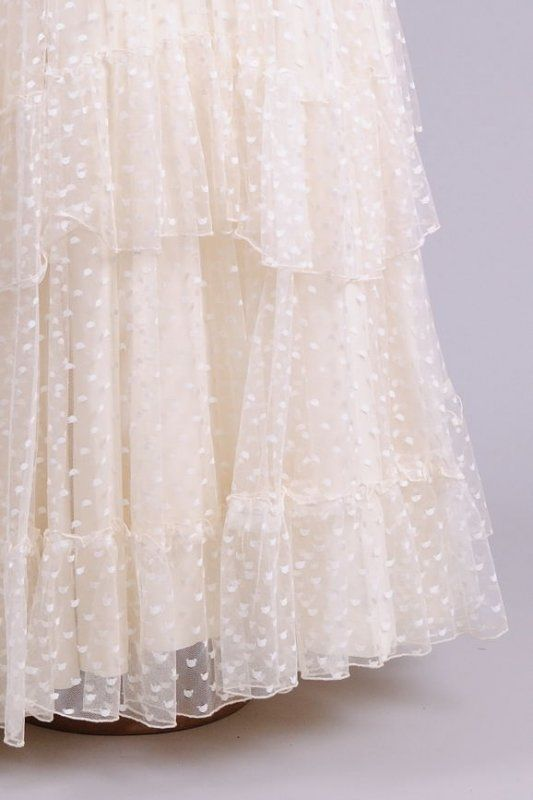 1970 Dotted Ruffled Vintage Wedding Gown - Click Image to Close