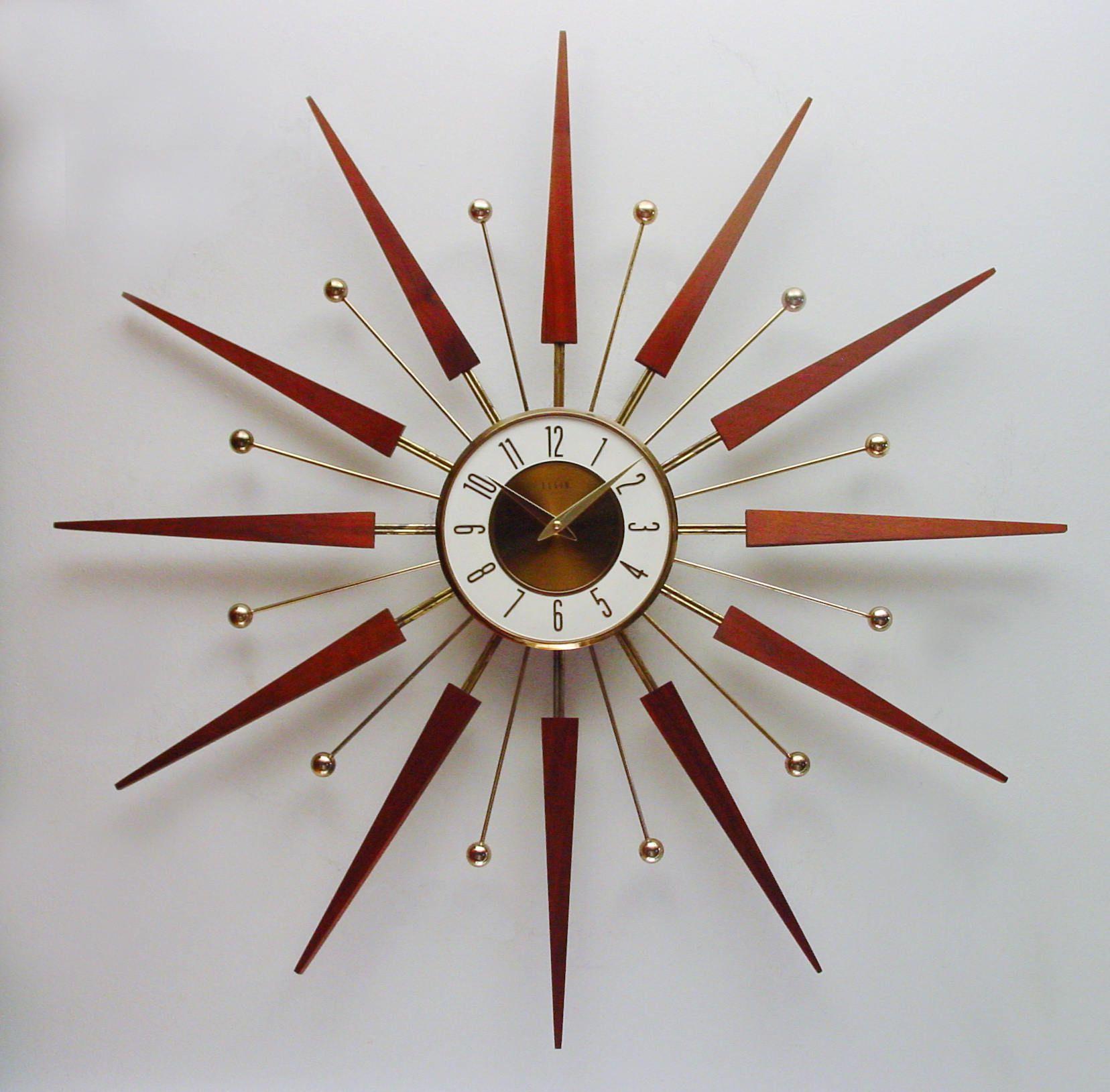 Starburst Clock By Elgin Mid Century Sunburst Wall Clock 1960s Clock Atomic Era Design Coupon Code 00625 Sunburst Clock Clock Wall Clock