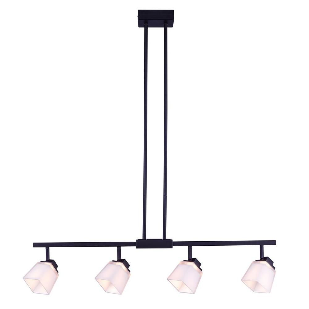 Hampton Bay 4-Light Antique Bronze Directional LED Island Track Lighting Fixture with Square White Glass Shades