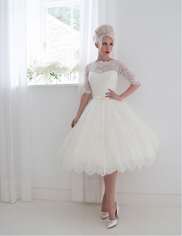 Half Sleeved Ball Gown Lace Wedding Dress with Ribbon | My happy day ...
